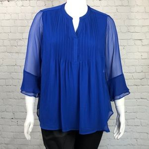 Charter Club Blue Sheer Overlay Top Plus Size 1X